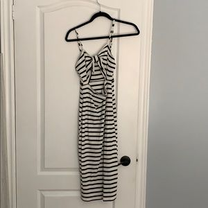 White and black striped dress with bow